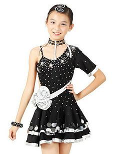 Kids' Amazing Crystal Flower Backless Spandex Latin Dance Dress For Performance