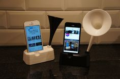 Iphone stand with speaker / horn by mikie10  http://thingiverse.com/thing:47944