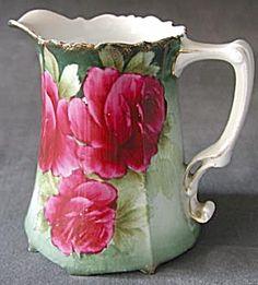 Vintage Bavaria Hand Painted Porcelain Rose Pitcher