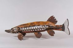 This 4 foot long northern pike sculpture was made by a amwa artist from old tools and saw blades.