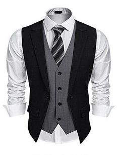 Coofandy Mens Formal Fashion Layered Vest Waistcoat Dress Vest Material: Polyester and Viscose Fake two piece vest and adjustable back strap, very unique style Slim fit vest for men, lightweight with well made and trend design perfect details for Rugged Style, Mode Man, Unique Style, Men's Style, Layered Fashion, Mens Fashion Suits, Mens Suits, Mens Clothing Styles, Men's Clothing