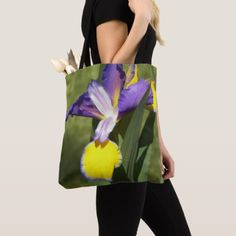 Bicolor Beardless Iris Floral Tote Bag - purple floral style gifts flower flowers diy customize unique