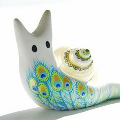 Polymer Clay Snail - 1 (magnet or paper weight)