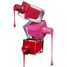 花瓣 ❤ liked on Polyvore featuring nails, beauty, filler, pink and red