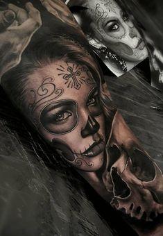 Celebrate Life and Death With These Awesome Day of the Dead Tattoos fantastischer Tag der Toten Tattoo © Tattoo-Künstler Samurai. Tattoo Girls, Neck Tattoo For Guys, Girl Tattoos, Tattoos For Guys, Best Neck Tattoos, Love Tattoos, Body Art Tattoos, La Muerte Tattoo, Catrina Tattoo
