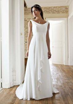 robe mariée empire drapée devant col légèrement bateau souple