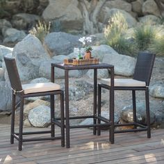 Coral Coast South Isle All-Weather Wicker Dark Brown Balcony Height Patio Bistro Set | from hayneedle.com