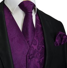 Wedding Suits Crown Jewel Purple Paisley Tuxedo Vest Set - Spice up your formal suit. This tuxedo vest set includes the vest, a matching necktie and pocket square. Full back. Tuxedo Wedding, Wedding Suits, Wedding Tuxedos, Purple Tuxedo, Tuxedo Colors, White Tuxedo, Dark Purple Wedding, Gold Wedding, Wedding Rings