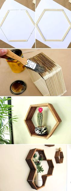 Check out this beautiful popsicle stick hexagon shelf DIY. Click on image to see… Check out this beautiful popsicle stick hexagon shelf DIY. Click on image to see more DIY crafts for your home. http: (Diy Crafts For College)