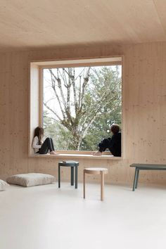 House in Beaune is a minimal home located in Beaune, France, designed by Atelier Ordinaire Plywood Interior, Plywood Walls, Wood Architecture, Computer Architecture, Futuristic Architecture, Prefabricated Houses, Minimal Home, Wood Interiors, Window Design