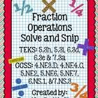 """""""Solve and Snip"""" include Interactive Practice Problems for skills aligned with TEKS and Common Core. In the Fraction Operations Word Problems Solv. Operations With Fractions, Math Fractions, Maths, I Love Math, Fun Math, Math Courses, Sixth Grade, Word Problems, Interactive Notebooks"""