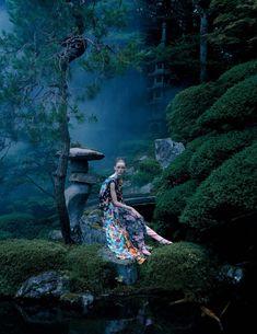 An Artist Of The Floating World Publication: Vogue UK December 2016 Model: Rianne van Rompaey Photographer: Tim Walker Fashion Editor: Kate Phelan Hair: Shon Make Up: Sam Bryant PART I
