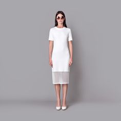 Cocoon Spring - Summer 2015 / Muss collection / Stamped  creamy white dress with net.
