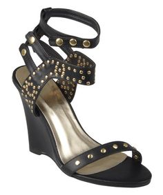 Another great find on #zulily! Black & Gold Jaida Gladiator Wedge by Journee Collection #zulilyfinds