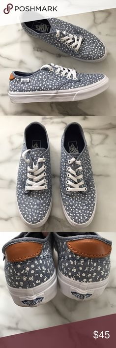 Vans Blue Denim White Floral Casual Sneakers NEW These are woman's Vans sneakers in a size 7.5. They're brand new without the box. Blue denim canvas fabric with white flowers. Vans Shoes Sneakers