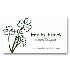 31 best business cards celtic irish images on pinterest irish irish four shamrock plant business cards reheart Images