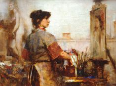 Alla Prima II, a breathtaking book by Richard Schmid, features this painting and much more. ~ch Nancy Painting (1988; oil on panel, 12×16) by Richard Schmid #OilPainting #FineArt