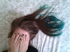 teal dip dyed hair on natural medium brown hair with twisted teal from n'rage