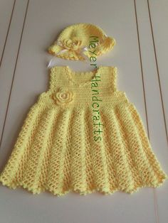 Adorable Quality Crochet Baby Dress ans Hat set, Unique Baby Gift Set