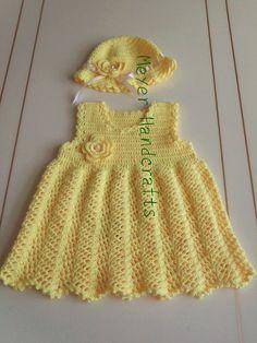 Adorable Quality Crochet Baby Dress ans Hat set, Unique Baby Gift Set