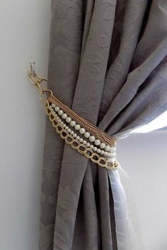 Blingy Tie Back | Inexpensive Ways to Spruce Up Your Living Room Curtains
