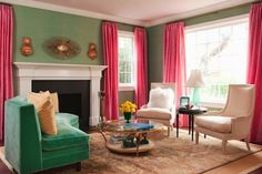 Pink and Teal Living Room- I want my living room like this- or maybe my bedroom!
