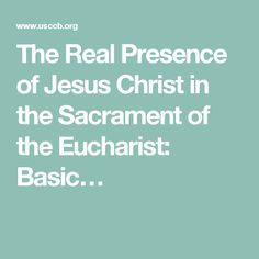 The Real Presence of Jesus Christ in the Sacrament of the Eucharist: Basic…