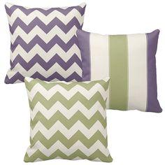 Sage Green Throw Pillows,  Chevron Pillow, Lavender, Cream