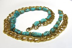 Turquoise and Gold Metal Three Necklaces In One by pearlsonapig, $40.00