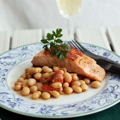 Fresh pan seared salmon with basil scented Paimpol coco beans.