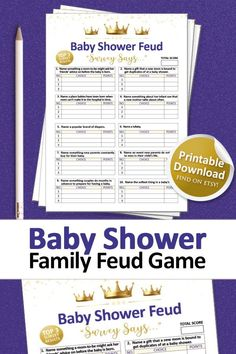 Baby Shower Signs, Baby Shower Games, Baby Boy Shower, Printable Party, Baby Shower Printables, Family Feud Game, Gold Baby Showers, Gender Neutral Baby Shower, Baby Shower Decorations