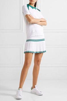 L'Etoile Sport - Medea Two-tone Mesh-paneled Stretch-knit Polo Shirt - White - x small