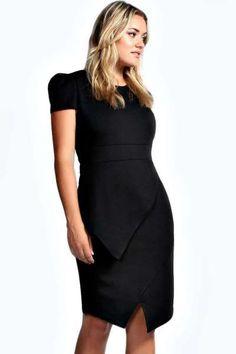 7c386a9de324 Izzy Cap Sleeve Asymmetric Hem Midi Dress at boohoo.com Kleider, Kleider In  Übergrößen