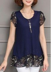 Printed Round Neck Short Sleeve Layered Blouse | Rosewe.com - USD $29.58
