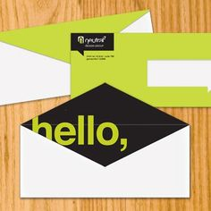 This is a standard envelope. However it has been designed by a professional graphic designer. This envelope has the word 'hello' in bold serif font. This word can be seen immediately when opening the envelope and it provides an instant relation with the sender. Whatever the matter, the envelope helps tone down any tension and create a relation with the audience.
