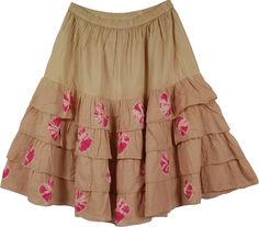 Brown Tie Dye Fashion Long Skirt, Dainty Rose Flared Fashion Stylish Skirt