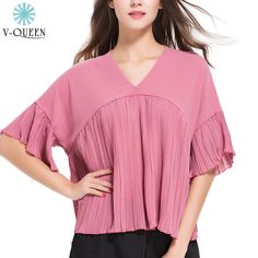 V-QUEEN Summer Spring Chiffon Pleated Short Blouse 2016 New V-Neck Butterfly Sleeve Loose Casual Fashion Blouse Female B1604072