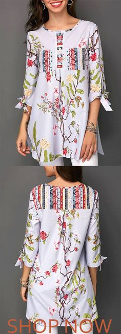 f3f92b5da92031 Blossom Print Tie Sleeve Button Detail Blouse On Sale. Buy cheap and nice  blouse at Modlily! Shop it now!