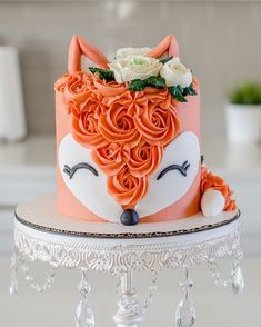 Sweet-Treats Cochrane on Happy Saturday, I hope everyone has a great weekend, here is a look at a fox cake from last weekend! Im still loving the animal head Fancy Cakes, Cute Cakes, Pretty Cakes, Beautiful Cakes, Amazing Cakes, Bolo Tumblr, Fox Cake, Savoury Cake, Creative Cakes