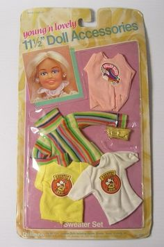 """Vintage 1984 Young n Lively Dolls Clothes Music Sweater Set for 11.5 """" Barbie 