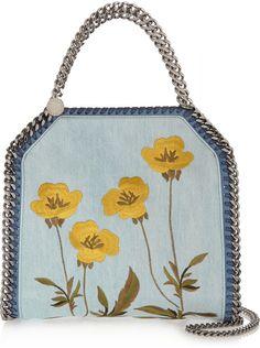 Stella McCartney - The Falabella mini embroidered denim shoulder bag Stella Mccartney, Denim Shoulder Bags, Light Denim, Floral Embroidery, My Bags, Mini, Jeans, Light Blue, Shoe Bag