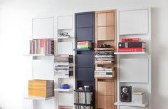 Este elegante y original sistema de estanterías lleva el no menos curioso nombre de Klaffi-hylly y es obra de la diseñadora finlandesa Eeva Lithovius.