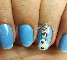 Oh myyy cuteness ❄️ Frozen Nail Art, Frozen Nails, Olaf Nails, Disney Nails, Beautiful Nail Designs, Cute Nail Designs, Cute Nails, Pretty Nails, Nails For Kids