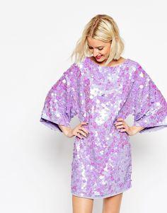 Изображение 1 из Платье-кимоно мини с отделкой пайетками ASOS
