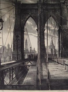Brooklyn Bridge, 1950, Stow Wengenroth (1906-1978), lithograph