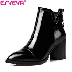 ESVEVA 2018 Women Boots Western Style Autumn Spring Square High Heels Ankle Boots Pointed Toe Zipper PU Ladies Boots Size 34-42