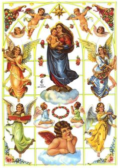 EF7024 HEAVENLY HOST & MADONNA German Die Cut Scraps