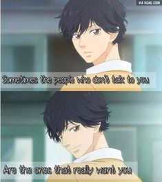 Anime Couples True as it says. Especially for the shy people. - More memes, funny videos and pics on Sad Anime Quotes, Manga Quotes, Tanaka Kou, Mabuchi Kou, Ao Haru, Blue Springs Ride, Shy People, Funny Anime Pics, Cute Love Quotes