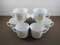 Corelle Meadow cups 8 ounce [lot of 8] by Corning