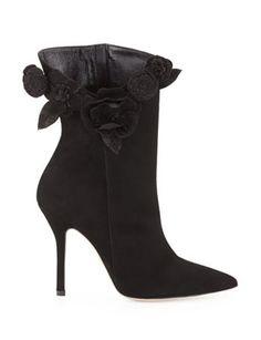OSCAR DE LA RENTA Carmen Suede Flower Ankle Boots